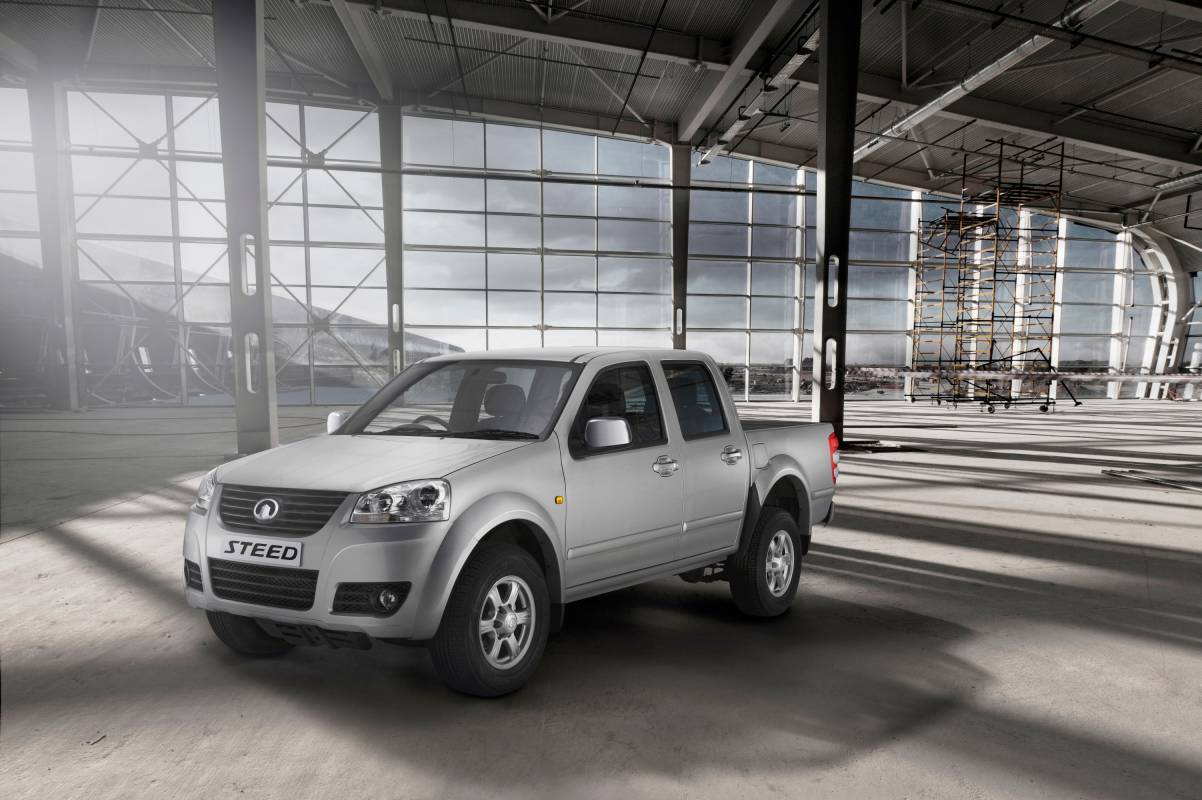 Car showroom silver pick up truck