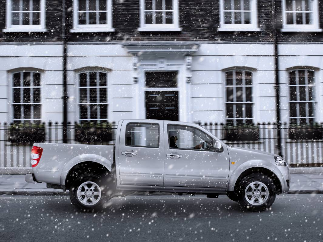 Car at London location in the snow