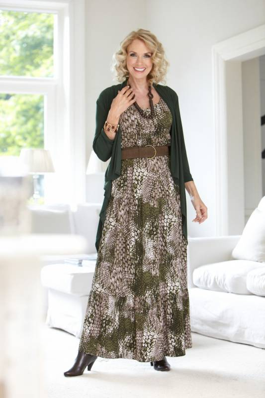 Green snakeskin maxi dress and olive waterfall cardigan for autumn collection