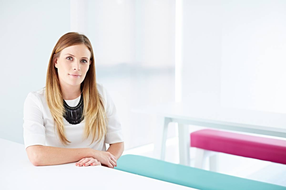 Clean modern shot of female model in corporate environment