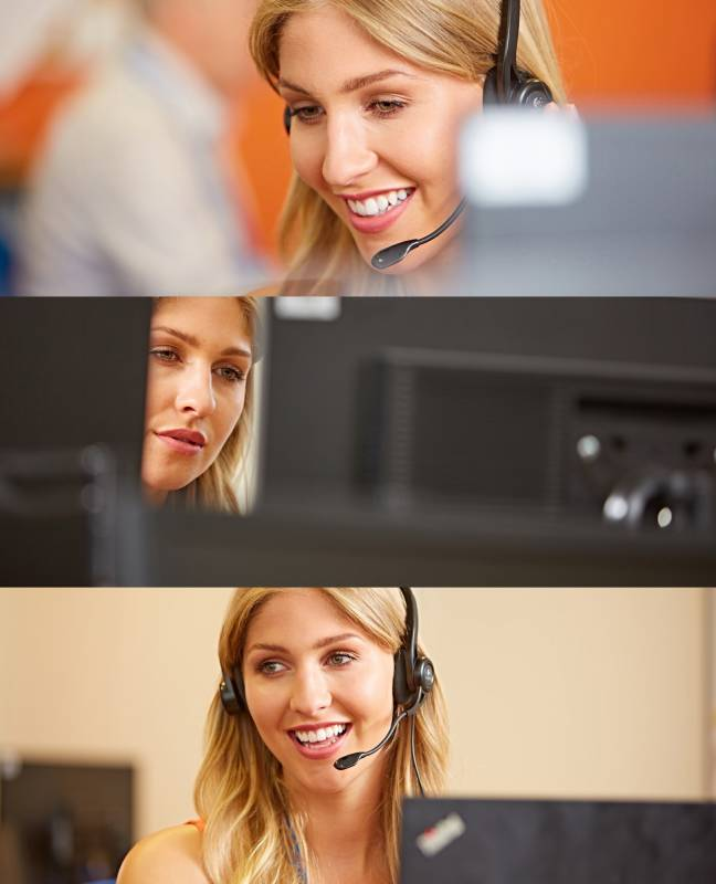 Customer services operative with handsfree headset