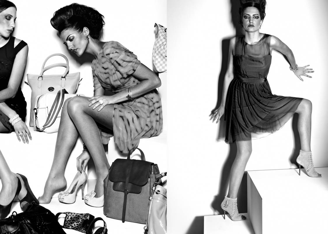 Black and white fashion shoot for bags and shoes including chiffon dress and long hair up do
