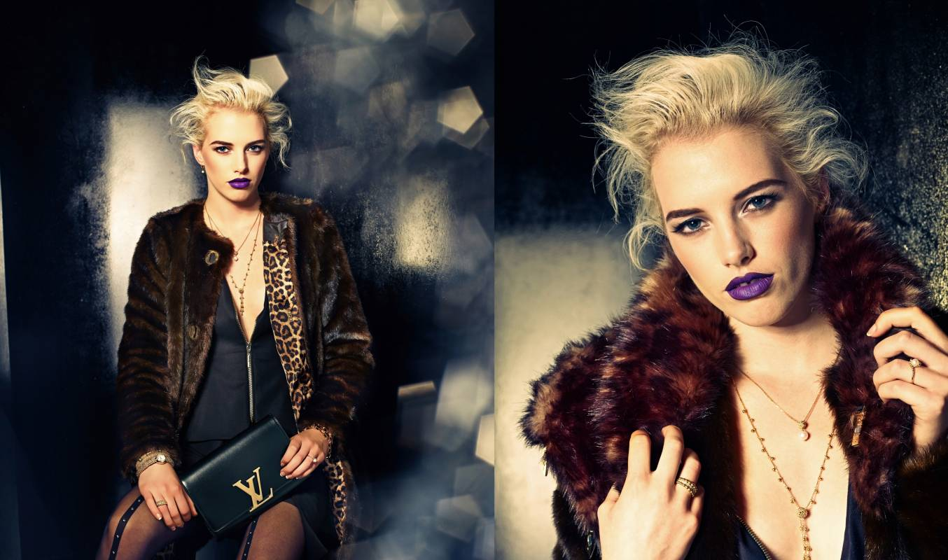 Louis Vuitton fashion edgy shoot with leopard print and fur coat and purple lipstick