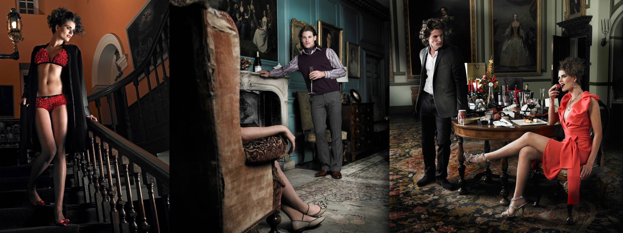 Stately home on location lingerie photoshoot with male and female models with luxury styling