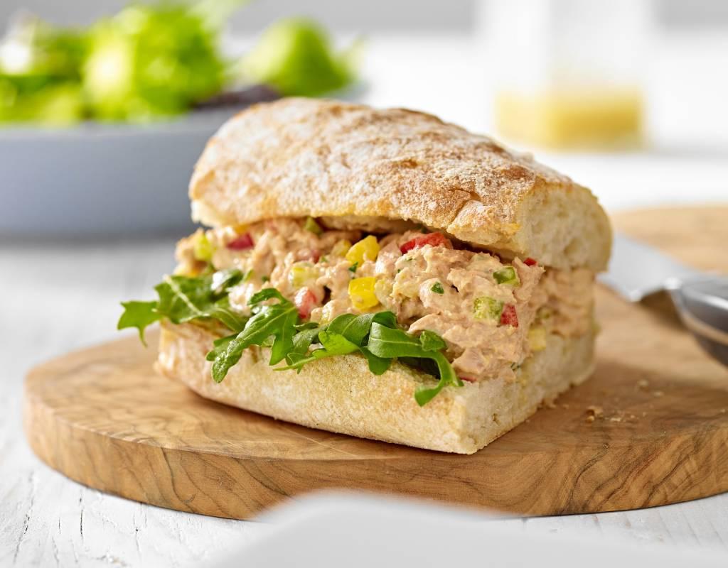 Tuna and pepper sandwich in ciabatta