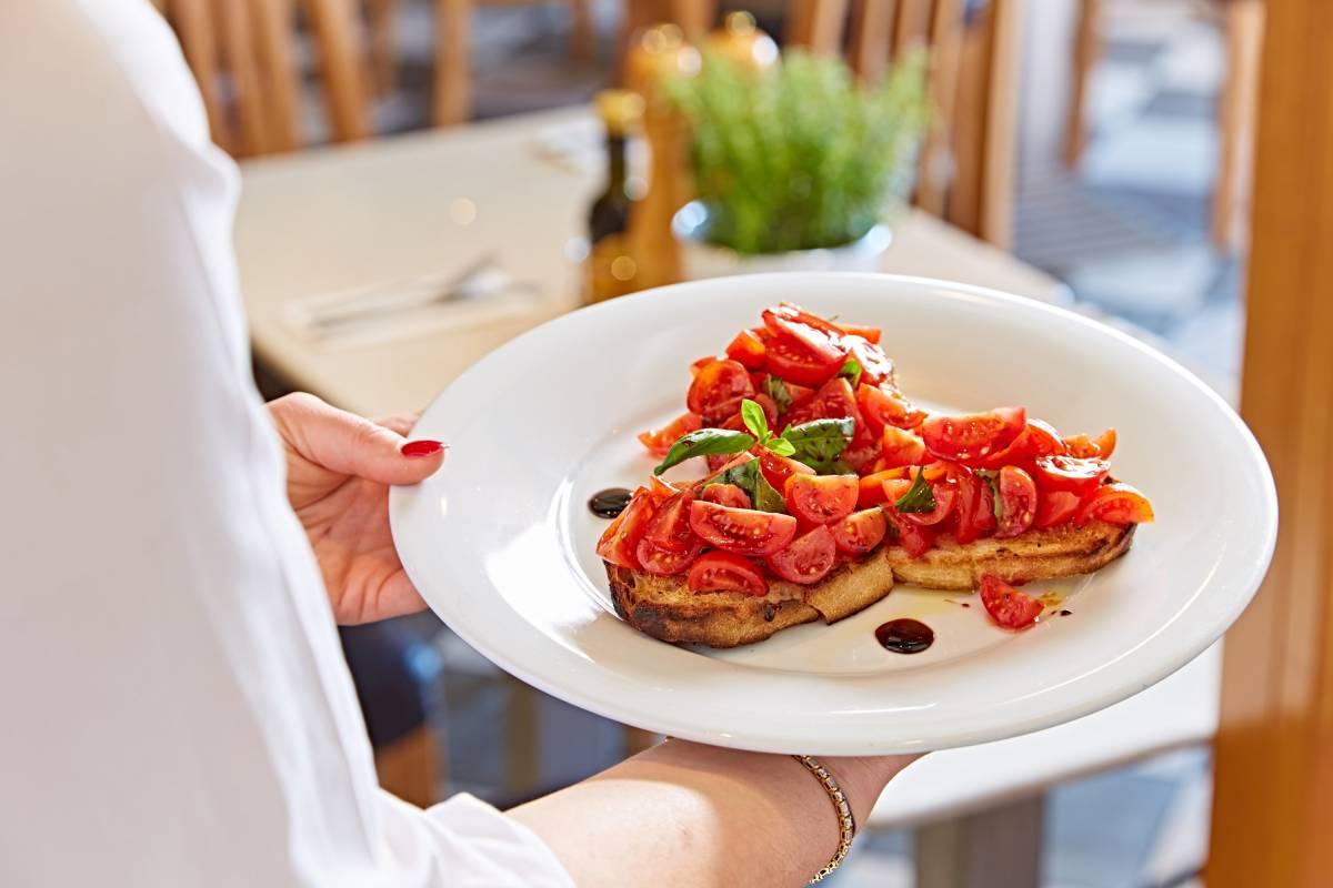 Bruschetta tomatoes basil balsamic glaze