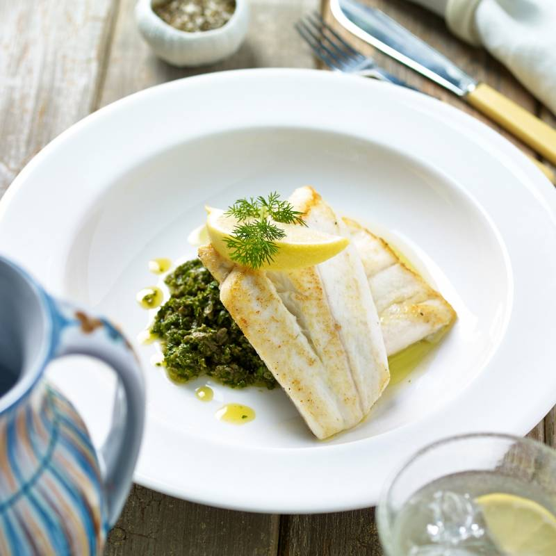 Cod, Sea Bass or Hake white fish dish with spinach