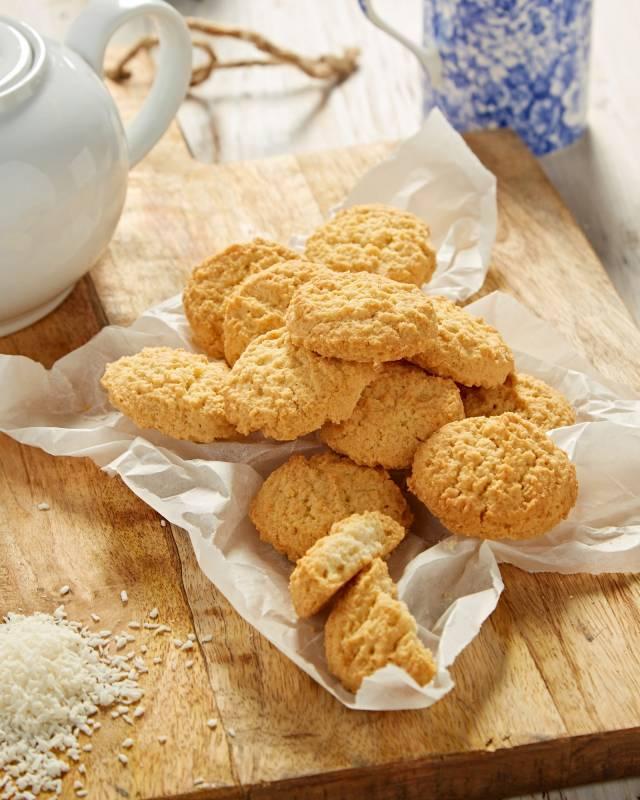 Coconut oat cookies and pot of tea