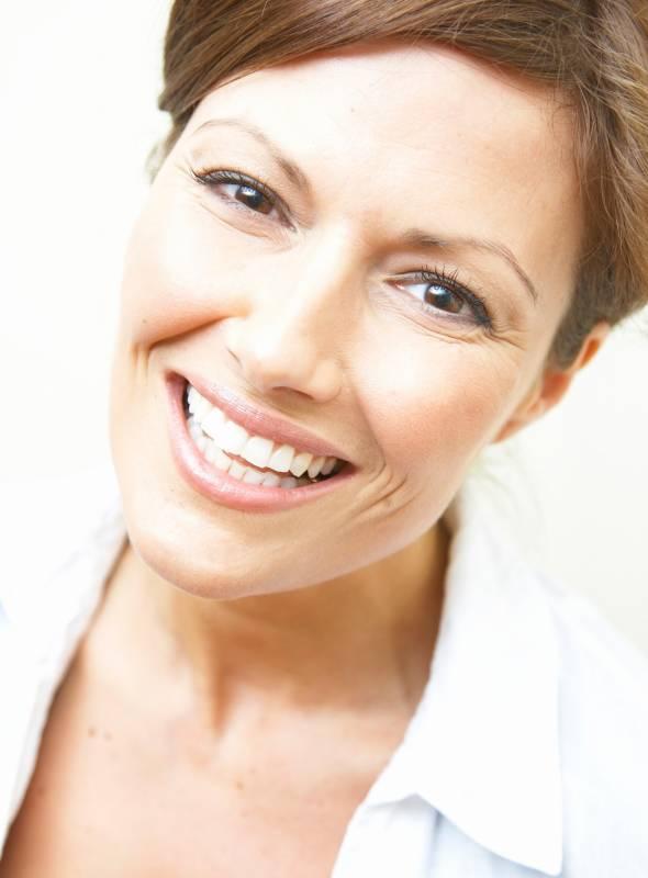 Smiley head white teeth ladies short hair