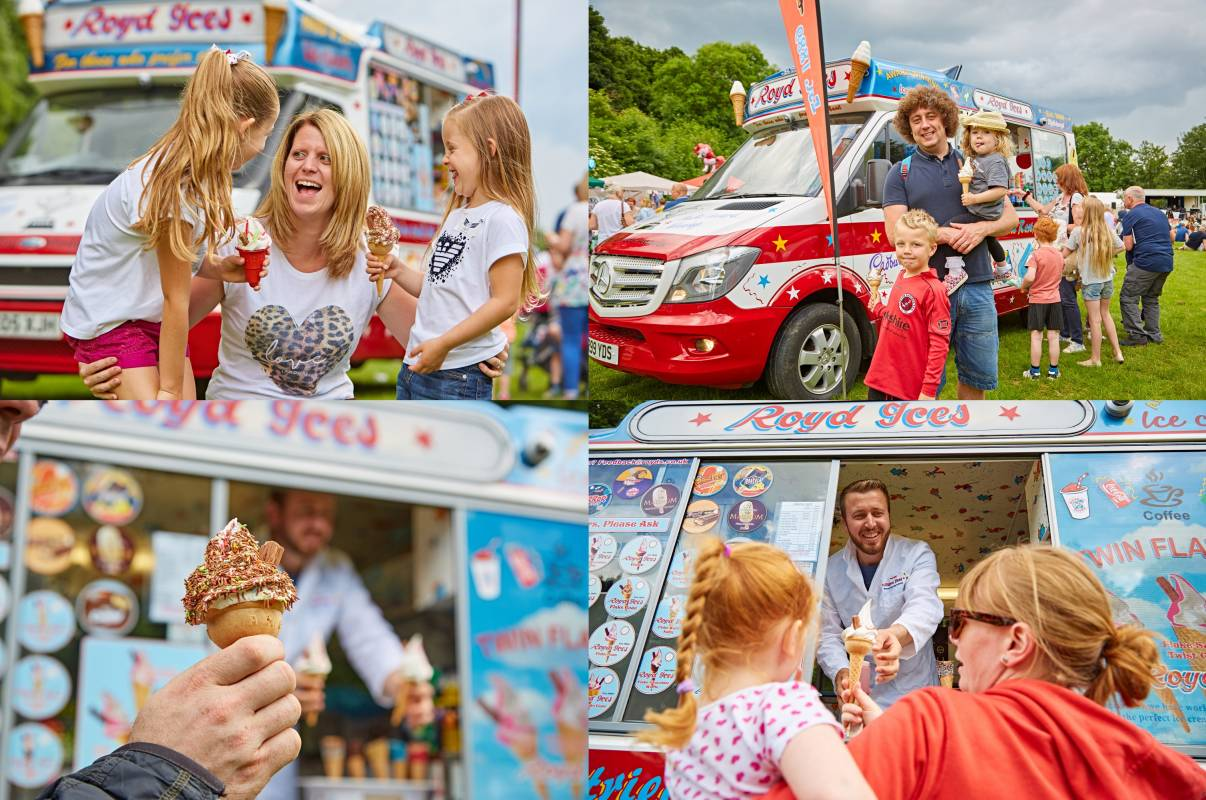 Ice cream van and family at festival