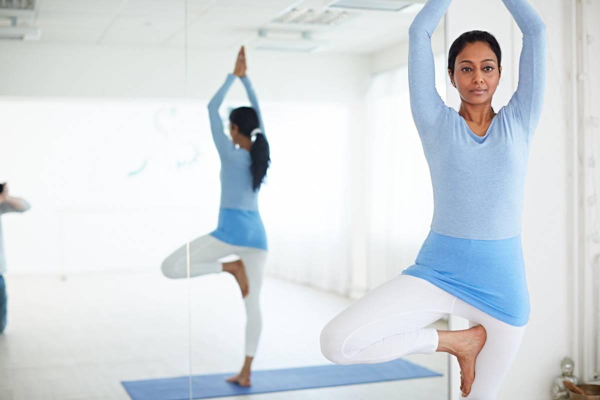 Yoga pose in dance studio