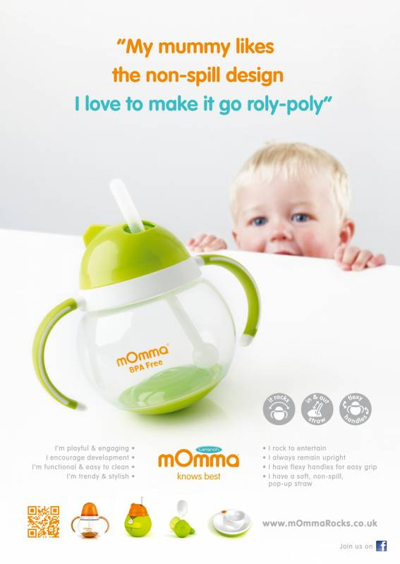 Momma non spill sippy cup advertisement