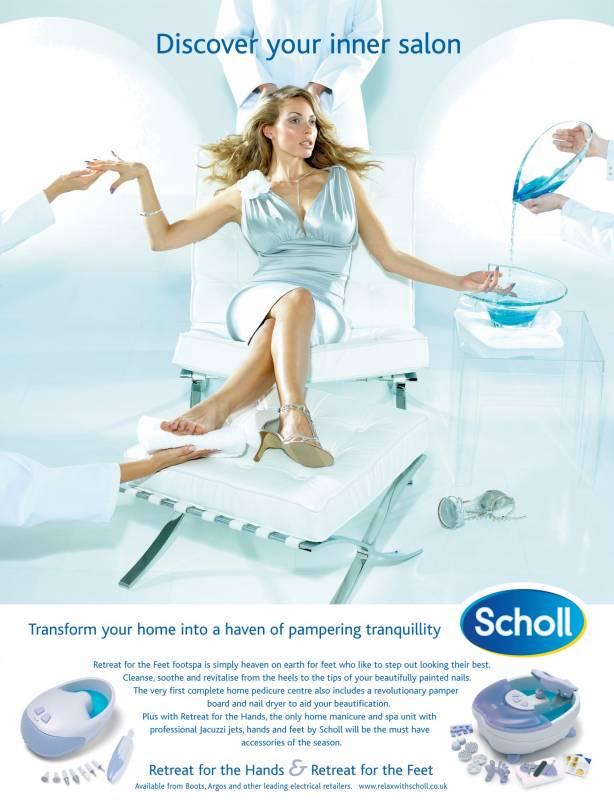 Scholl footspa luxury model photoshoot
