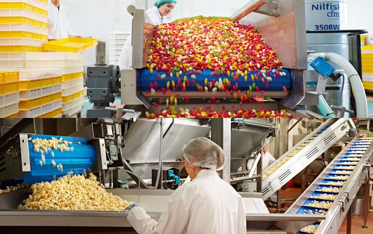 Jelly bean factory and popcorn manufacture