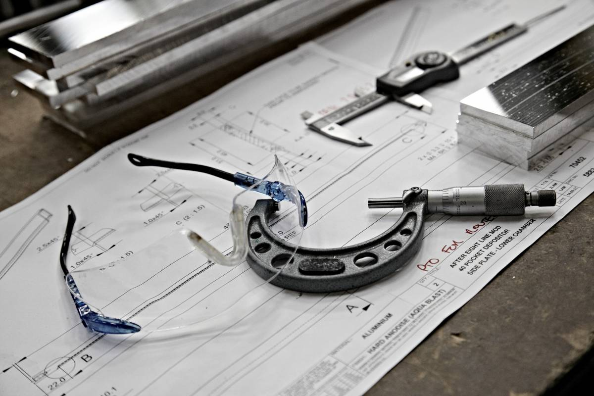 Safety glasses and production line drawings
