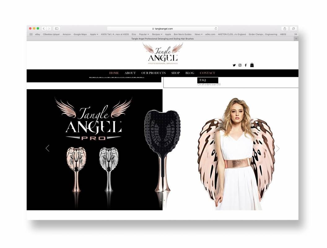 Tangle Angel web page hairbrush