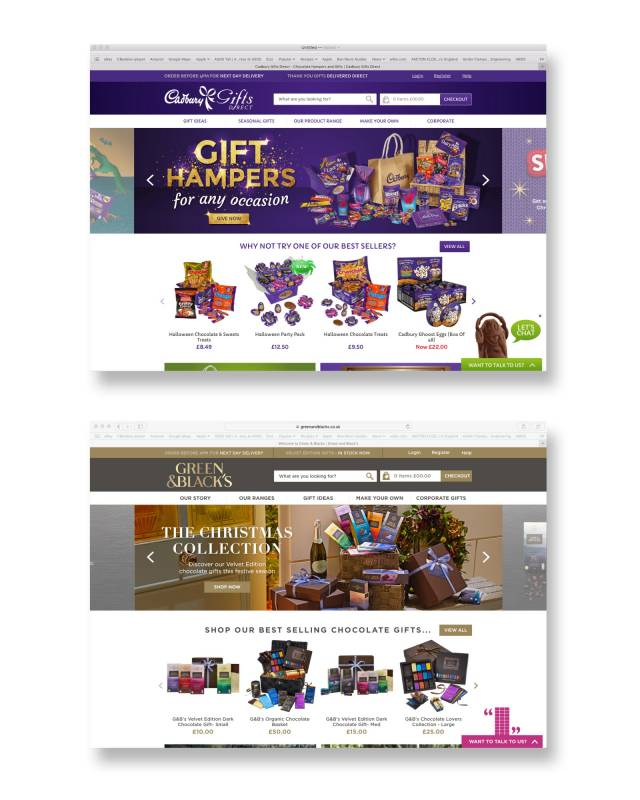 Cadbury gifts and green & black's chocolate