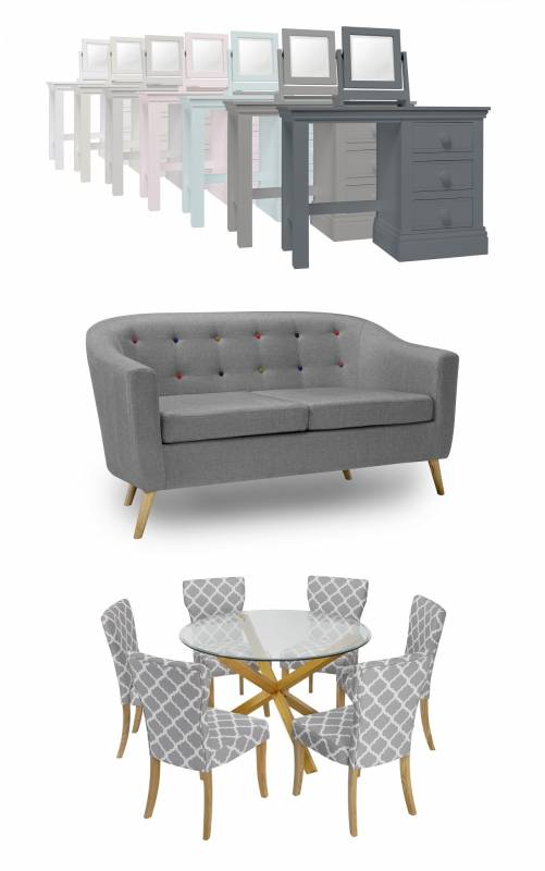 Furniture from Dunelm including two seater sofa, glass dining table with six chairs and dressing tables