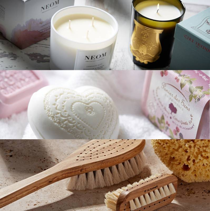 Scented heart shape soap and nail brush with sponge and loofah