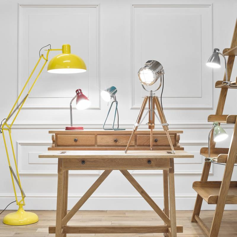 Standing lamp, table lamps and clip on lighting on writing desk