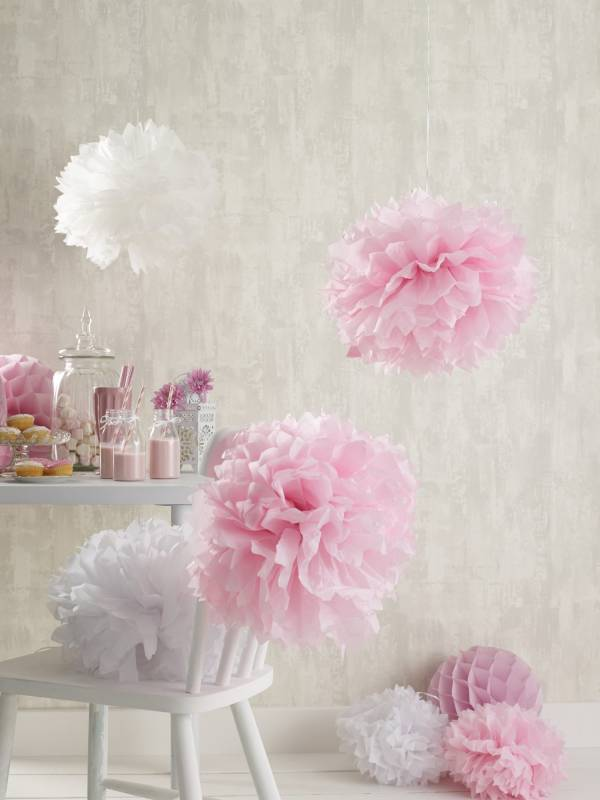 Pink and white hanging room decorations with cupcakes and strawberry milkshakes