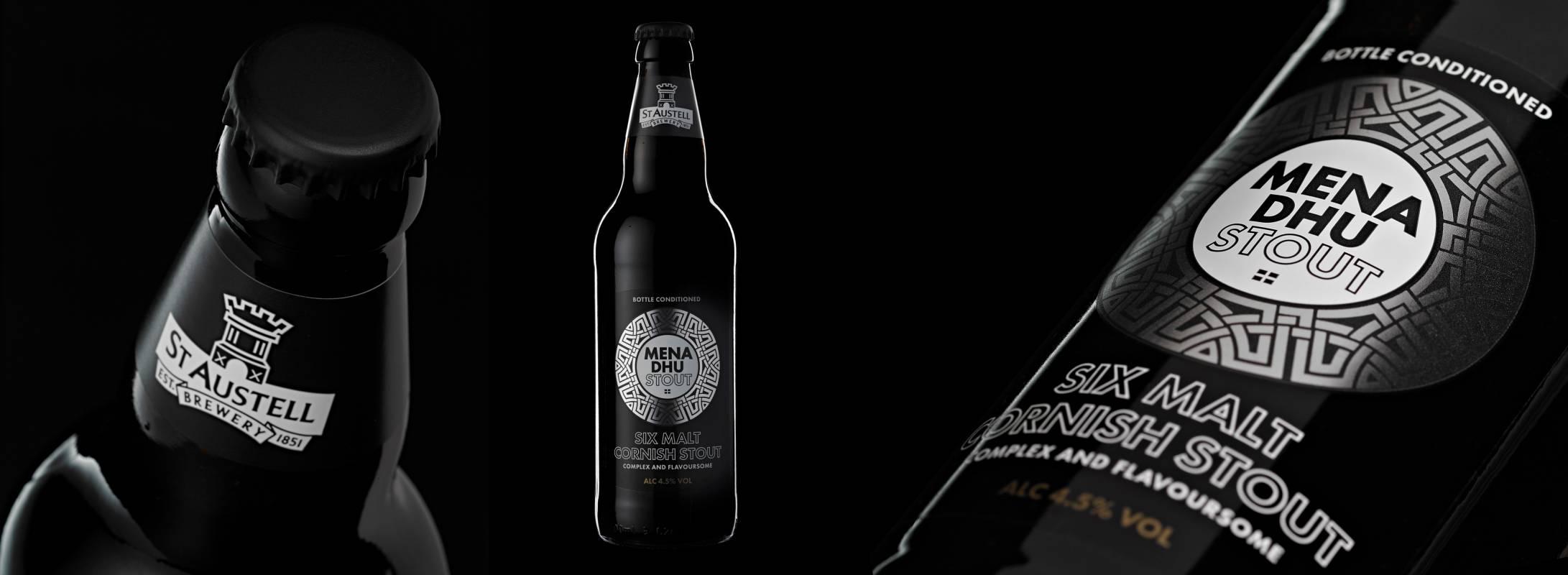 St Austell Mena DHU six malt Cornish stout bottles