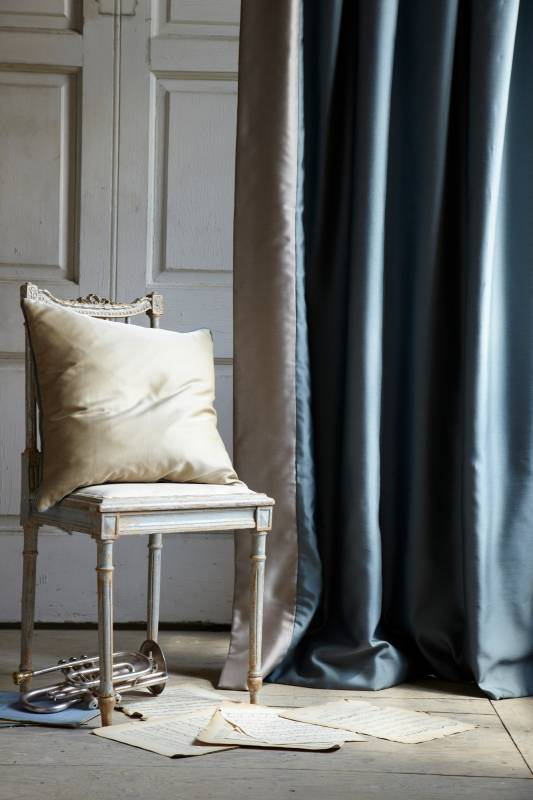 James Hare Silks silk fabrics for cushions and curtains with vintage chair
