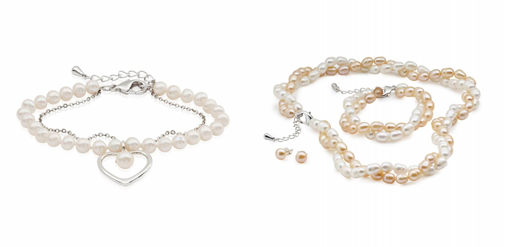 Pearl and silver bracelets and earrings jewellery products